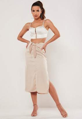 Missguided Tall Champagne Tie Front Midi Skirt