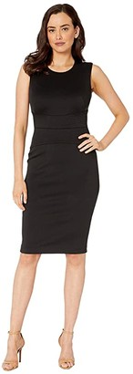 Calvin Klein Solid Sheath Dress with Waist Detail (Black) Women's Dress
