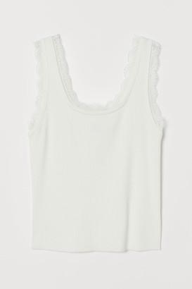 H&M Lace-trimmed ribbed vest top