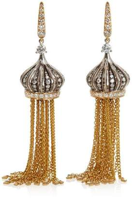 Annoushka 18Ct Gold Touch Wood Diamond And Ebony Tassel Drop Earrings
