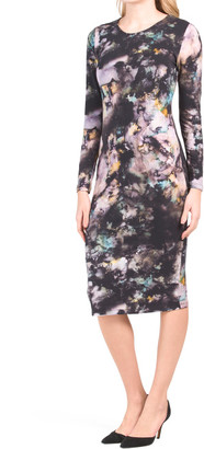 Scoop Neck Digital Print Jersey Midi Dress