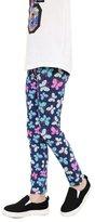 Weixinbuy 2-14 Years Girls Flower Feather Printed Comfy Leggings Pants 9-10Y