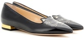 Charlotte Olympia Mid-century Kitty Patent Leather Slippers