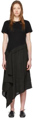 Loewe Black Satin and Jersey T-Shirt Dress