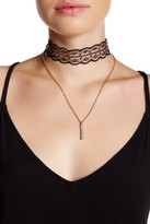 Stephan & Co Pave Bar & Lace Layer Choker Necklace