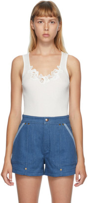 Chloé Off-White Lace Ribbed Tank Top