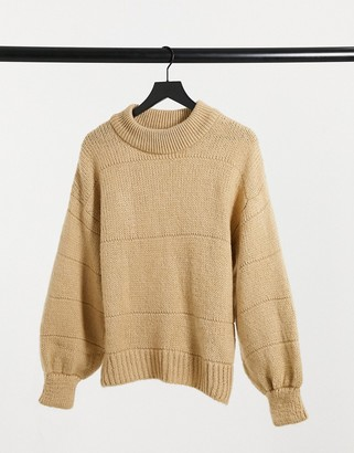 ASOS DESIGN oversized sweater with stripe stitch detail in oatmeal
