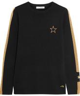 Bella Freud Libertine Embroidered Metallic Intarsia Wool-blend Sweater - Black