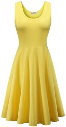 Jevvia Women Summer Beach Cotton Casual Sleeveless Flared A Line Dress Yellow