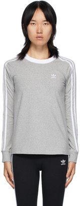 adidas Grey 3-Stripes Long Sleeve T-Shirt