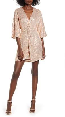 ALL IN FAVOR Sequin Twist Front Dress