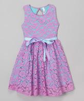Mulberribush Lavender Lace Belted Jackie Dress - Girls
