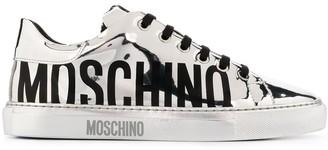 Moschino Logo-Print Metallic Sneakers