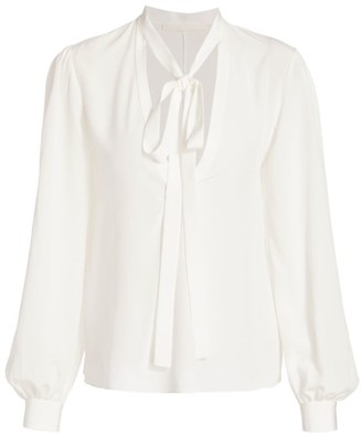 Jason Wu Collection Silk Crepe de Chine Tieneck Blouse