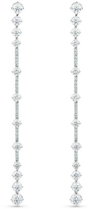 De Beers 18kt white gold diamond Arpeggia one line earrings