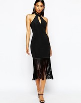 Lipsy Michelle Keegan Loves Halterneck Body-Conscious Dress WIth Fringe Hem