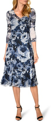Komarov Floral Print Charmeuse A-Line Dress