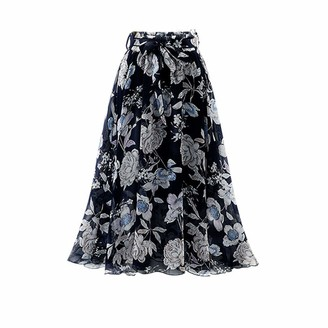 Erthome1 Womens Plain Knee Length Ladies Soft Stretch Flared Printed Skater Midi Skirt A-Line Pleated Vintage A-Line Midi Skirts with Pocket for Women Casual Dress Black
