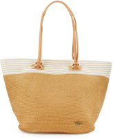 Capelli of New York Striped-Trim Straw Tote Bag, Toast