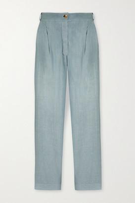 ASCENO Rivello Organic Linen Wide-leg Pants - Light blue