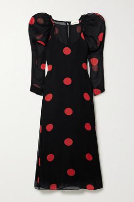 Mara Hoffman Net Sustain Elisabetta Polka-dot Tencel Lyocell Midi Dress - Black
