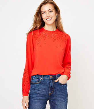 LOFT Embroidered Ruffle Neck Blouse
