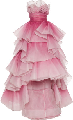 Marchesa Tiered-Ruffle Strapless Tulle Gown