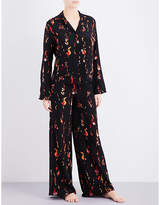 Rockins Flower and Flames silk-crepe pyjama set