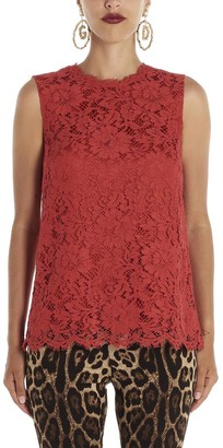 Dolce & Gabbana Floral Lace Detail Sleeveless Top