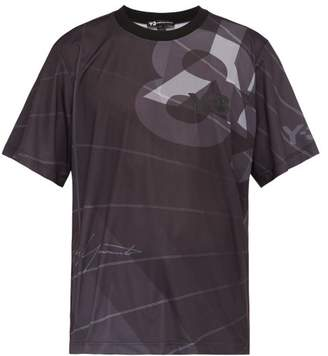 Y-3 Y 3 Logo Perforated Jersey Football T Shirt - Mens - Black
