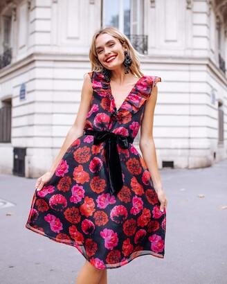 The Drop Women's Floral Print Ruffle Deep V-Neck Waist-Tie Knee-Length Dress by @officiallyquigley S