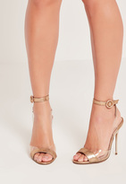 Missguided Gold Vamp Wrap Around Barely There Heels