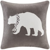 Nobrand No Brand Holiday Bear Embroidered Suede Pillow- Grey