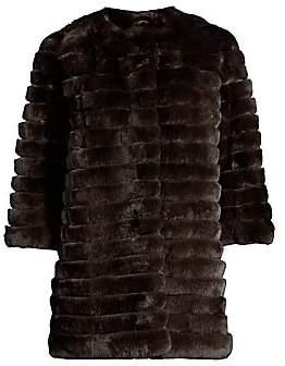 Glamour Puss Glamourpuss Women's Rabbit Fur Three-Quarter Sleeve Corded Coat