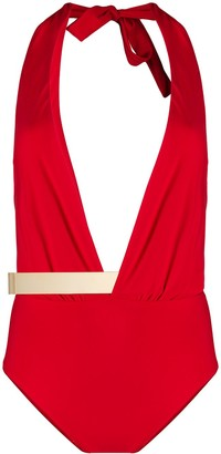 Moeva deep V-neck tie back swimsuit