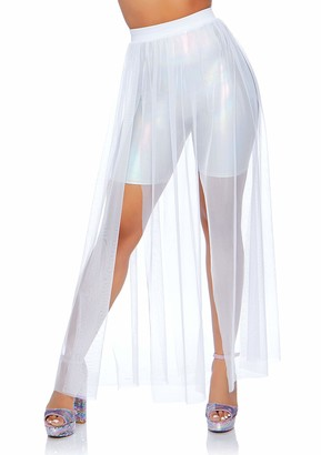 Leg Avenue Women's Fashion Sexy Sheer Mesh High Waist Split Maxi Skirt