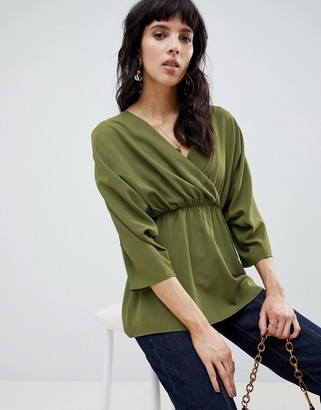 Asos DESIGN wrap top with ruched sleeves
