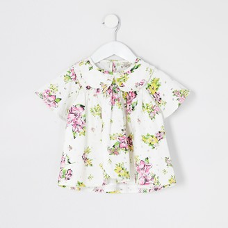 River Island Mini girls White floral broderie top