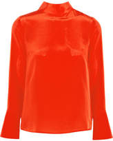 J.Crew Howl Draped Silk Crepe De Chine Top - Orange