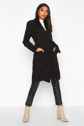 boohoo Tall Belted Wool Look Coat