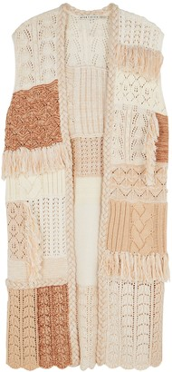 Alice + Olivia Perry patchwork knitted cardigan