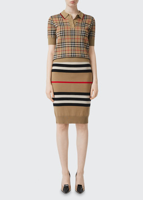 Burberry Chatterton Check Jacquard Knitted Polo