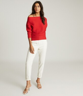 Reiss Lorna - Asymmetric Knitted Top in Red