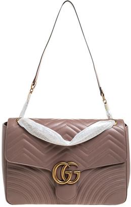 Gucci Dark Beige Matelasse Leather Large GG Marmont Shoulder Bag