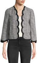 Kate Spade Scalloped Open-Front Tweed Jacket