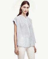 Ann Taylor Petite Seersucker Cap Sleeve Shirt