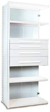 """Equipto V-Grip 84"""" Shelving with Drawers Unit - 4Drw/5Shelf Closed AddOn, 4 drawers - (2) 4.5"""" & (2) 6"""" H; 400 lb capacity Equipto Finish: Smooth White, Size:"""
