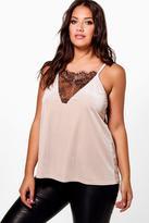 Boohoo Plus Leanne Velvet Lace Detail Cami Vest