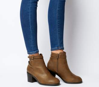 Office Attract Ankle Strap Boots Tan With Branded Charm