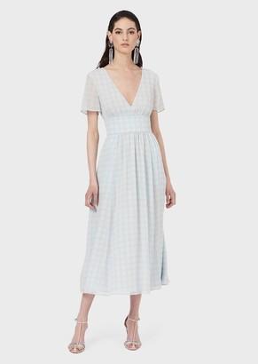 Emporio Armani Long V-Neck Dress In 3D Check Print Chiffon